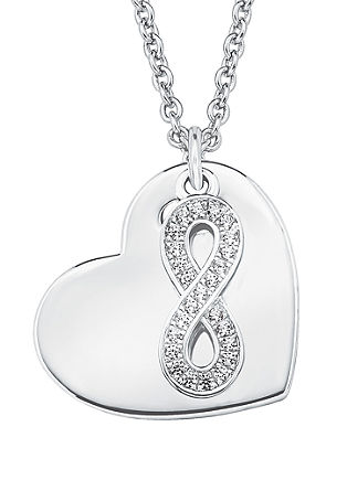 Silberkette mit Herz und Infinity