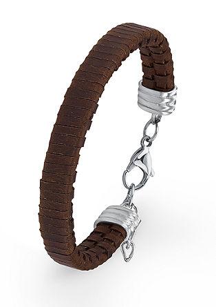Bruine leren armband met edelstaal