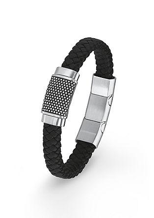Leder-Armband mit Edelstahl-Details