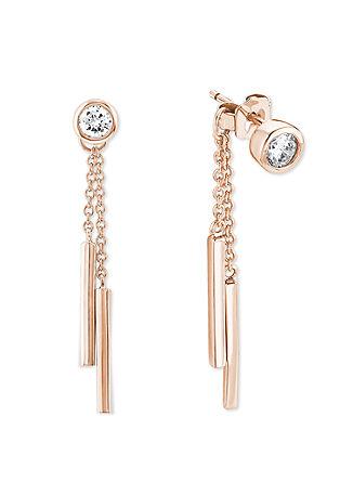 Rosévergoldete Ohrhänger mit Zirkonia