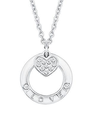 Silberne Halskette 'Love' mit Zirkonia