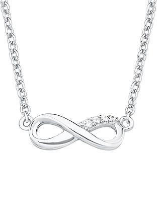 Silberne Halskette 'Infinity' mit Zirkonia
