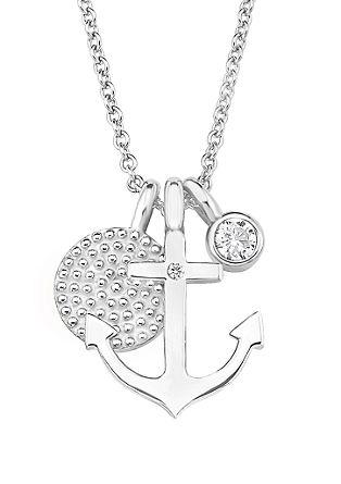 Silberne Halskette 'Anker' mit Zirkonia