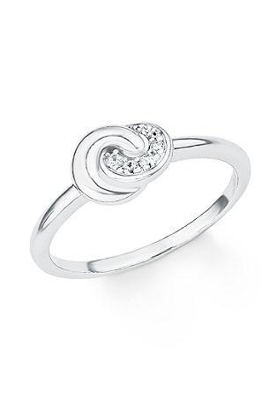 Silberner Ring 'Knoten' mit Zirkonia