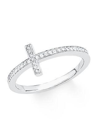Srebrn prstan križ s cirkoni