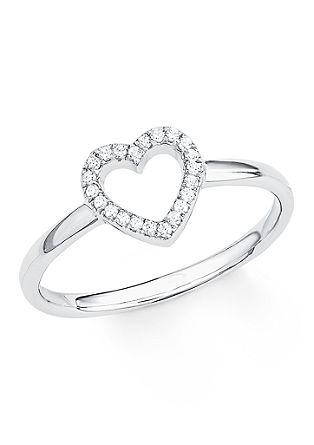 Silberner Ring 'Herz' mit Zirkonia
