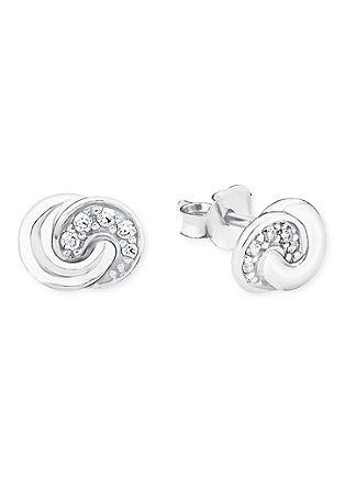 Zilveren oorstekers knoop met zirkonia