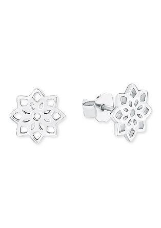 Zilveren oorsteker bloem