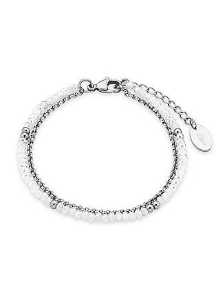 Edelstalen armband met glazen kralen