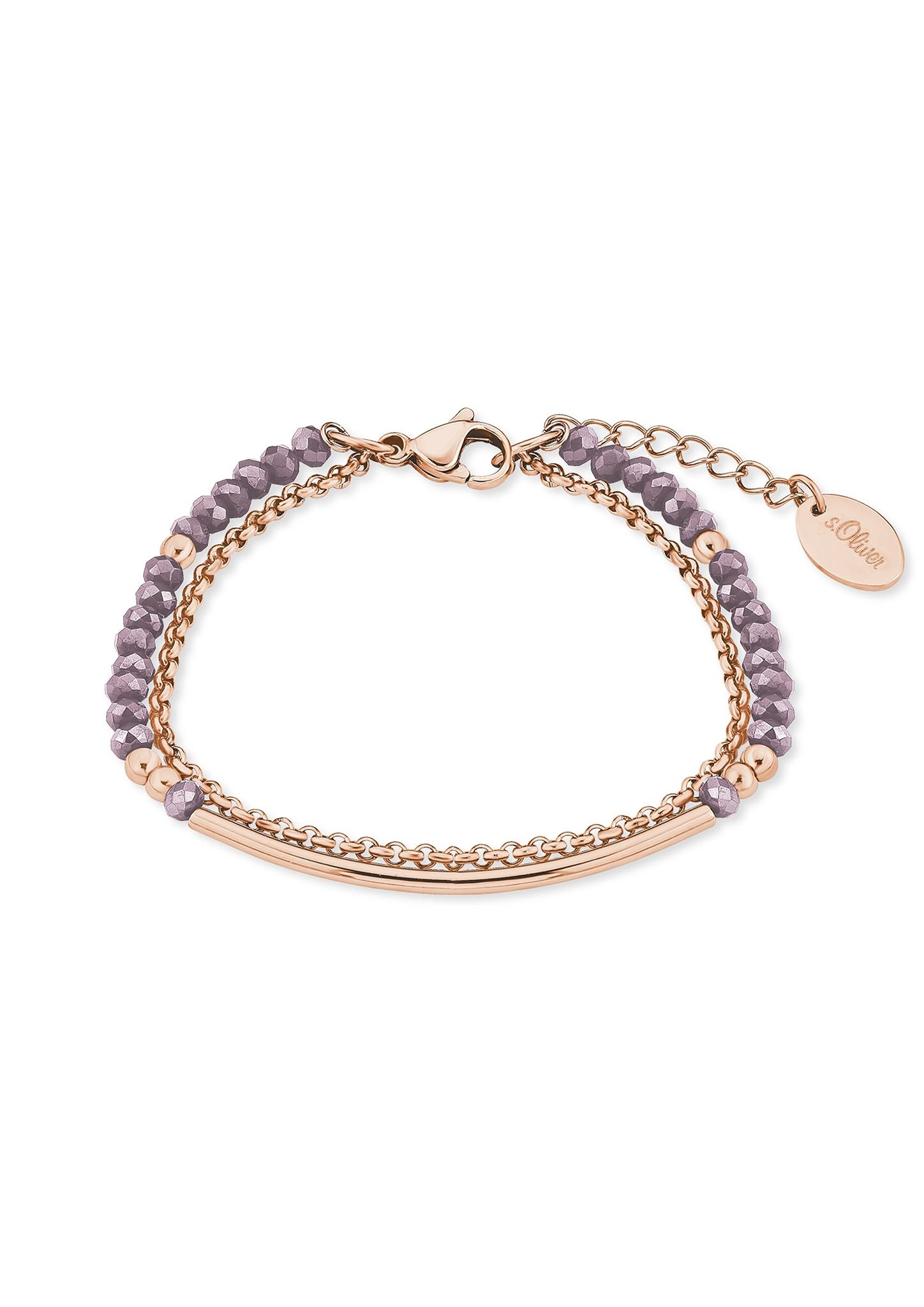 Armband   Schmuck > Armbänder > Sonstige Armbänder   Pink   Edelstahl ip roségold  glas   s.Oliver