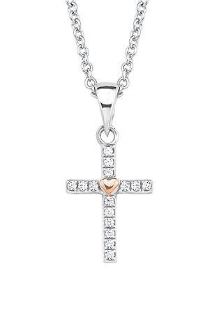 Zilveren ketting met kruisvormige hanger