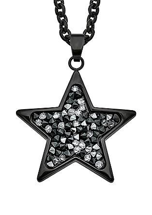 Zwarte ketting Ster met Swarovski® kristalletjes