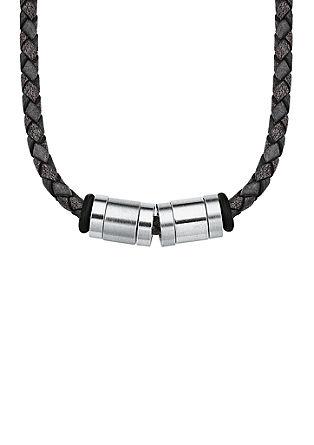 Lederkette mit Edelstahl-Beads