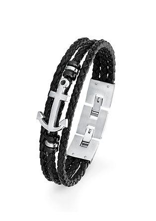 Leder-Armband mit Edelstahl-Anker