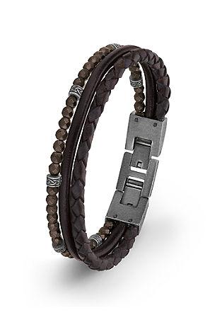 Leder-Armband mit Hämatit