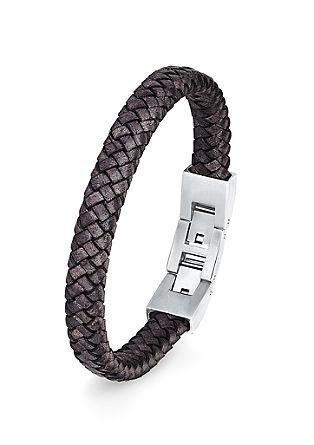 Leder-Armband mit Edelstahl-Schließe