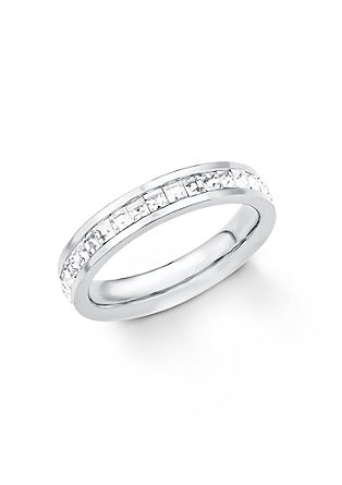 Edelstahl-Ring mit Swarovski-Kristallen