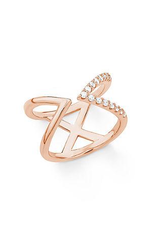 Rosévergoldeter Ring in offener X-Form