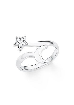 Silberring mit Zirkonia im Stern-Motiv