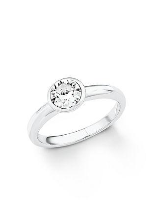 Zilveren ring met Swarovski® kristalletje