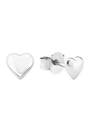 Silberne Ohrstecker in Herz-Form
