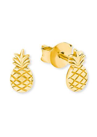 Ananas-Ohrringe aus vergoldetem Silber