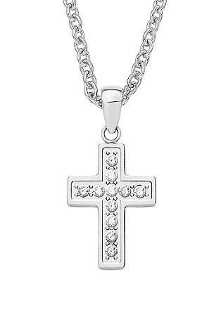Edelstahl-Halskette Kreuz