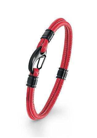 Leder-Armband IP BLACK Edelstahl
