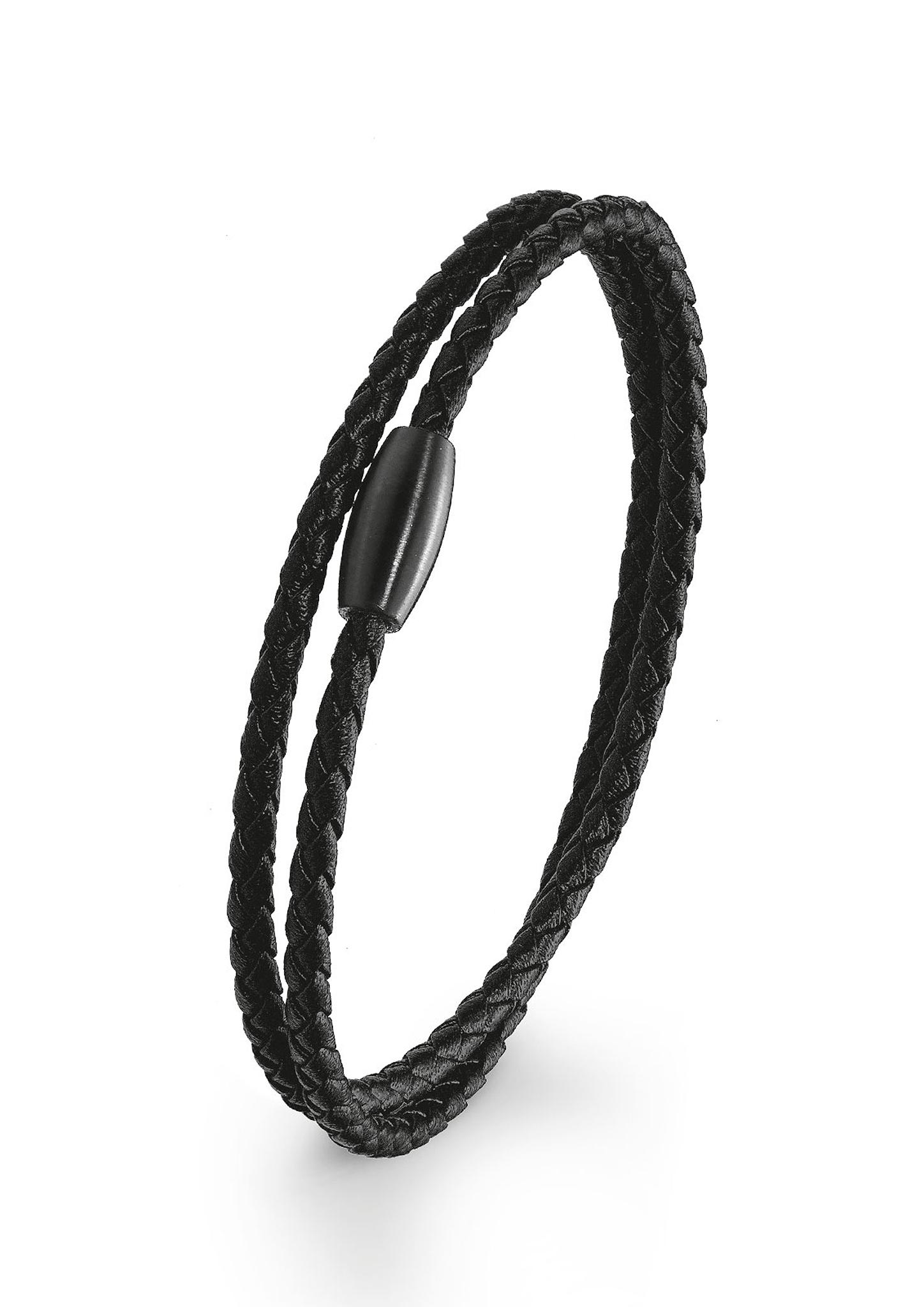 Armband | Schmuck | Grau/schwarz | Edelstahl -  leder -  ip black | s.Oliver