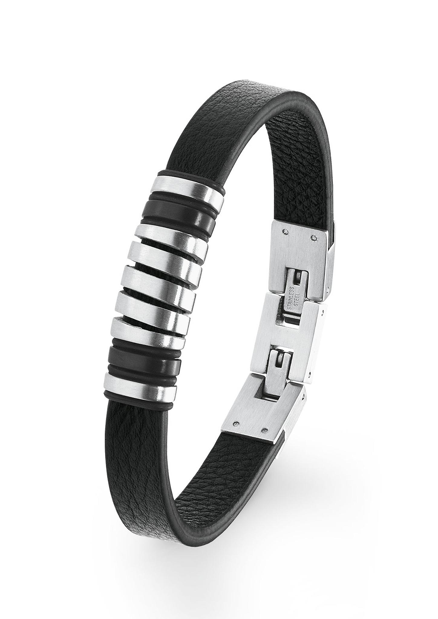 Armband | Schmuck > Armbänder | Grau/schwarz | Edelstahl -  leder -  ip black | s.Oliver