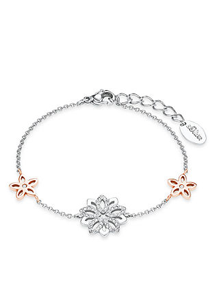 Edelstalen armband bloem