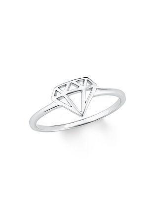 Ring met diamantmotief van zilver