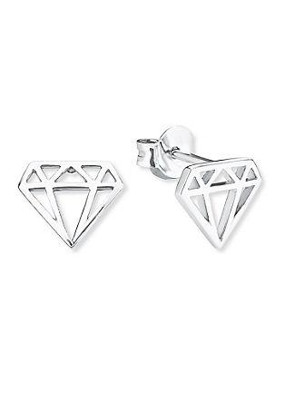 Ohrringe Diamond-Motiv aus Silber