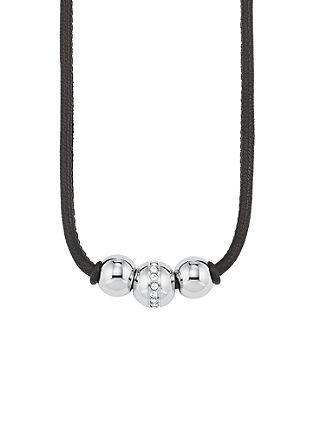 Leder-Halskette mit Edelstahl-Beads