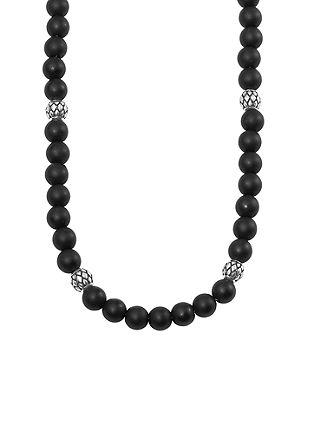 Halskette aus Onyx mit Edelstahl