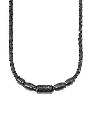 Usnjena ogrlica s karbonom in legiranim jeklom