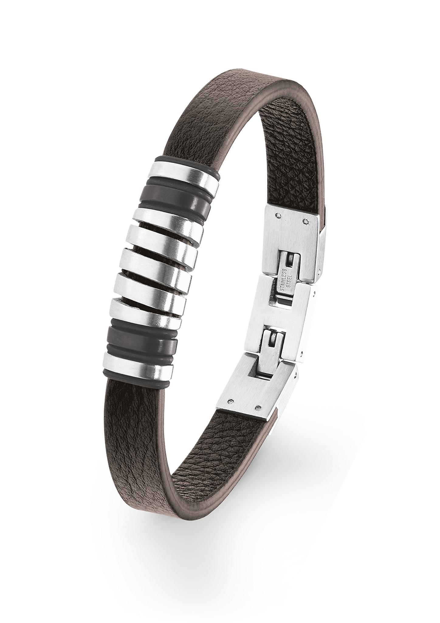 Armband | Schmuck | Braun | Edelstahl| leder | s.Oliver