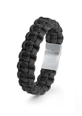 Gevlochten armband van nylon met edelstaal