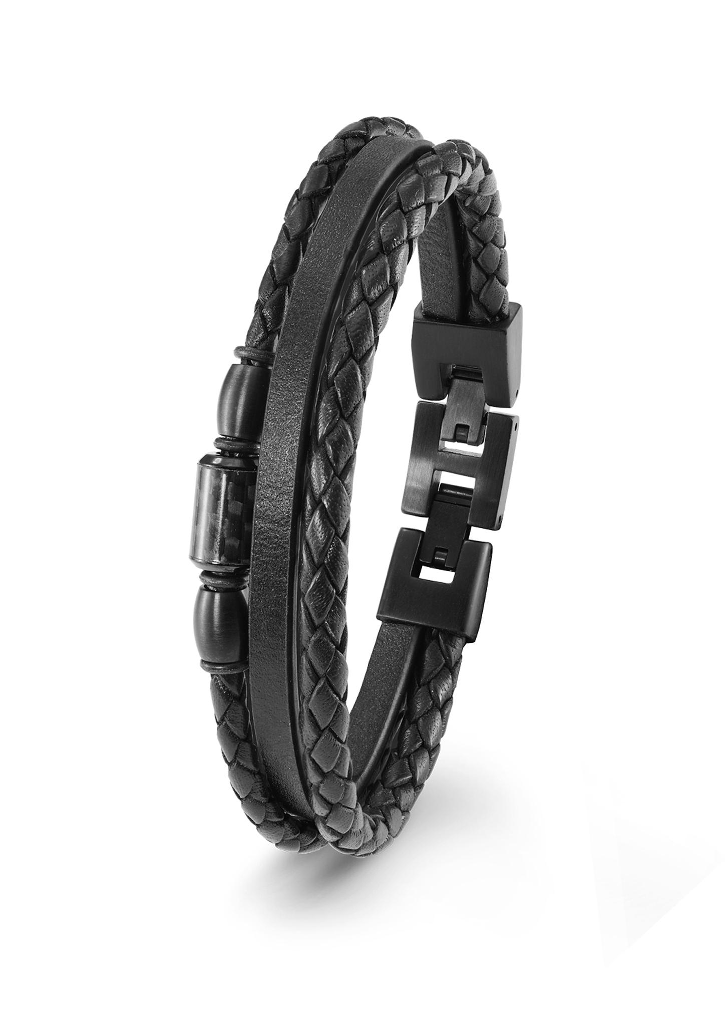 Armband | Schmuck | Grau/schwarz | Edelstahl| leder| ip black | s.Oliver