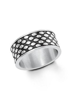 Dvobarven, širok prstan iz legiranega jekla