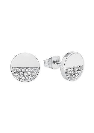 Ronde oorstekers met Swarovski-kristallen