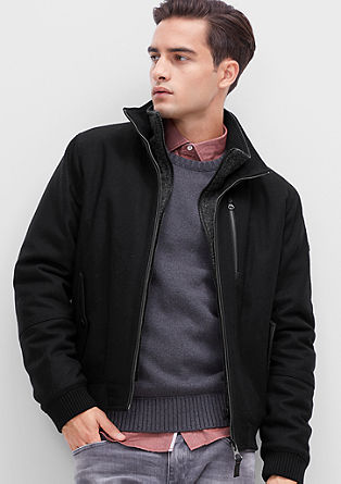 Lined wool fleece bomber jacket from s.Oliver