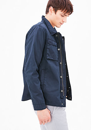Luchtig field jacket met garment-washed effect