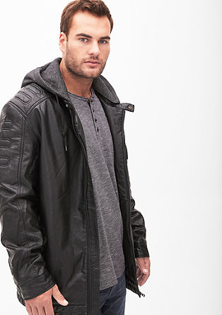 Padded jacket in faux leather from s.Oliver