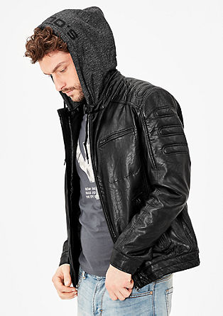 Faux leather jacket with hood from s.Oliver