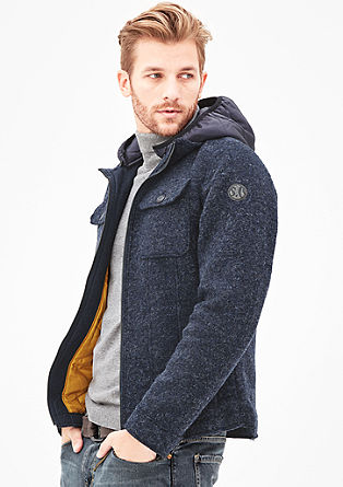 Wollmix-Jacke mit Kapuze