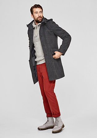 Patterned wool coat with padding from s.Oliver