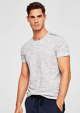 Slim: Melange T-shirt with a print from s.Oliver