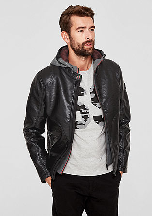 Faux leather jacket with a sporty insert from s.Oliver