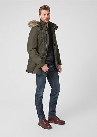 Twill parka with faux fur from s.Oliver